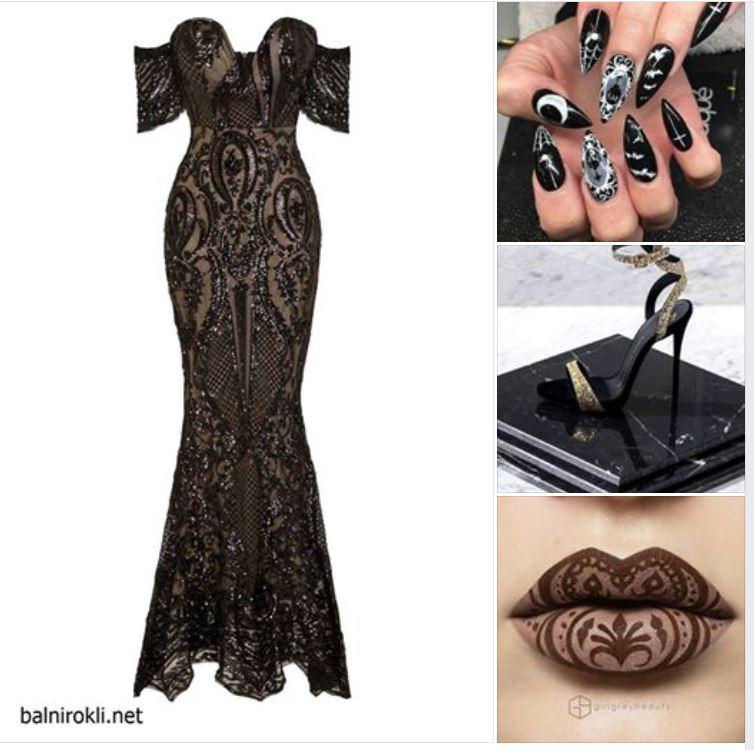 официална блестяща черна рокля
