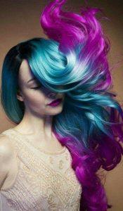 цветна прическа лилави кичури и сини кичури