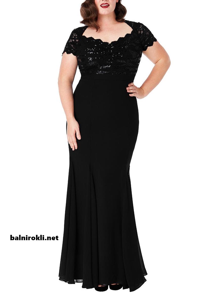 Дълга черна официална рокля с дантела в макси размери 3XL,4XL,5XL,6XL,7XL