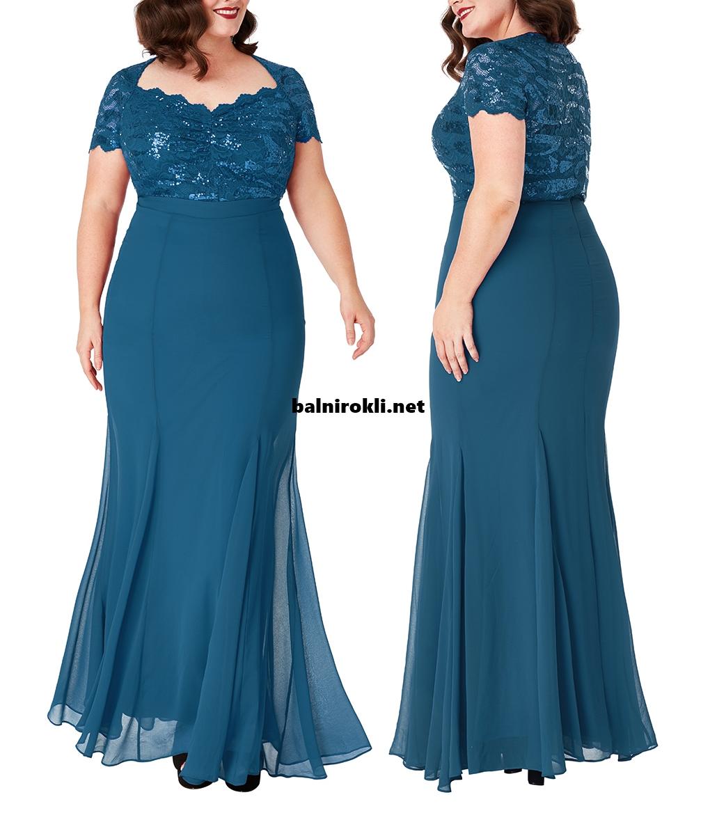 Дълга синя официална рокля макси размери Бюстие Дантела и Блестящи Пайети 3XL,4XL,5XL,6XL,7X