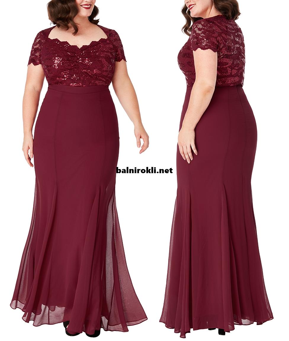 Дълга официална рокля макси размери Бордо Бюстие дантела 3XL,4XL,5XL,6XL,7X