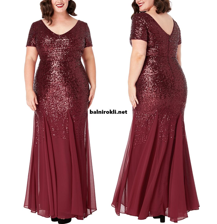 Дълга официална рокля макси размери Бордо Бюстие Блестящи Пайети 3XL,4XL,5XL,6XL,7X