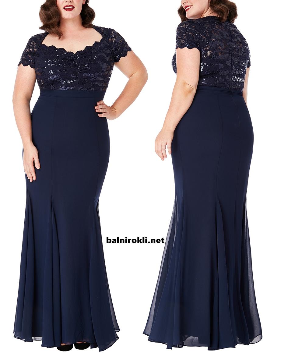 Дълга официална рокля макси размери Тъмносиня Бюстие Дантела и Блестящи Пайети 3XL,4XL,5XL,6XL,7X