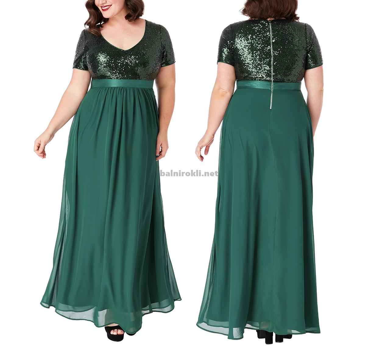 Дълга тъмнозелена официална рокля макси размери Бюстие Блестящи Пайети 3XL,4XL,5XL,6XL,7X