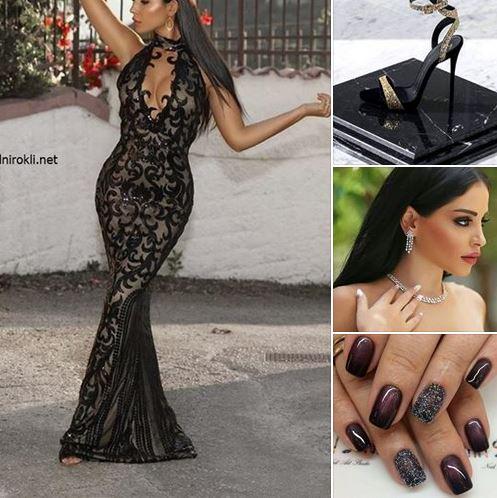 блестяща луксозна дълга черна рокля