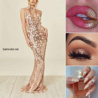 блестяща златна дълга абитуриентска рокля