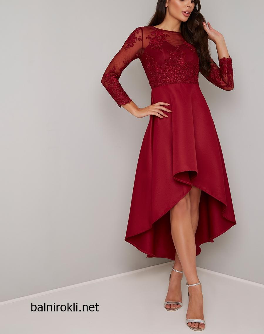асиметрична бална червена рокля