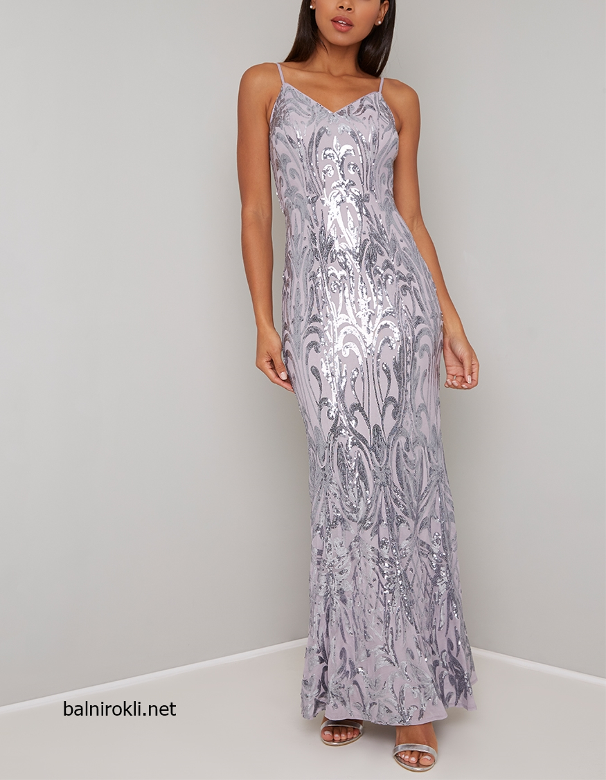дълга бална сребриста рокля