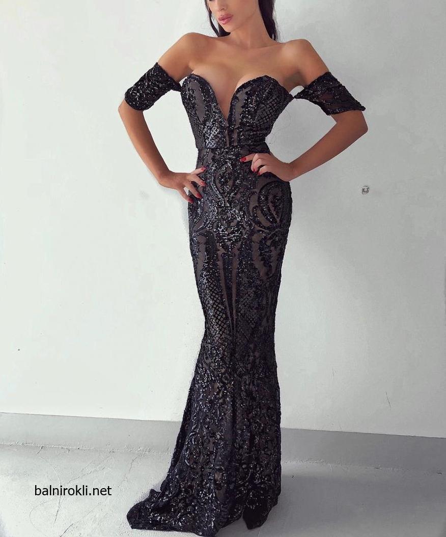 бална дълга черна блестяща рокля