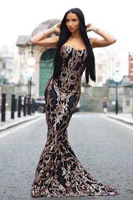 блестяща официална дълга рокля черно и златисто