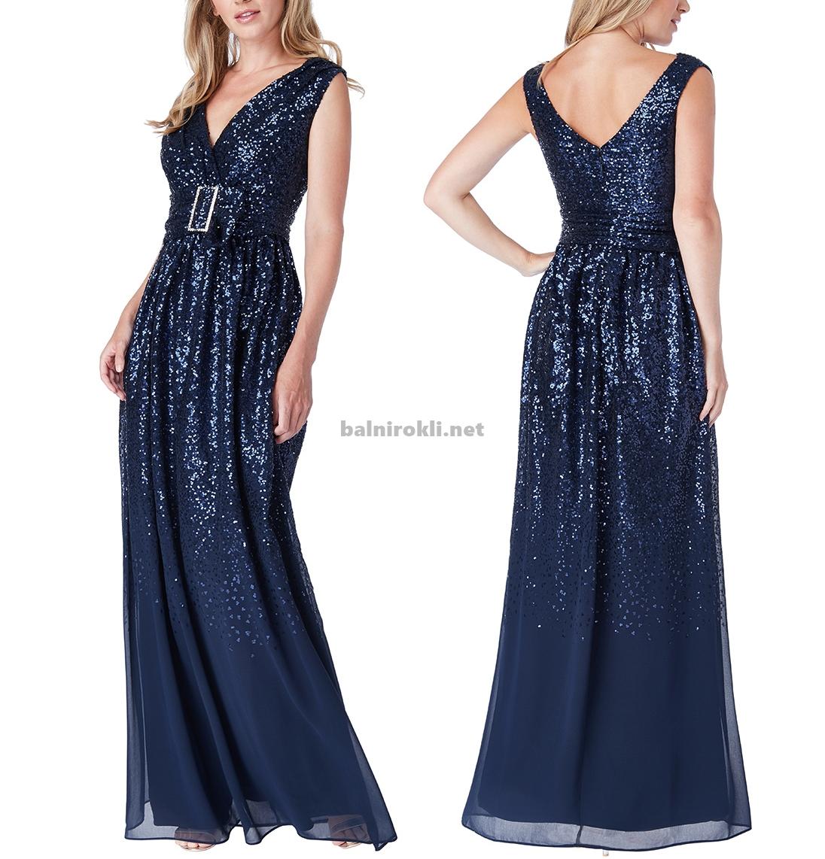 тъмносиня блестяща бална рокля