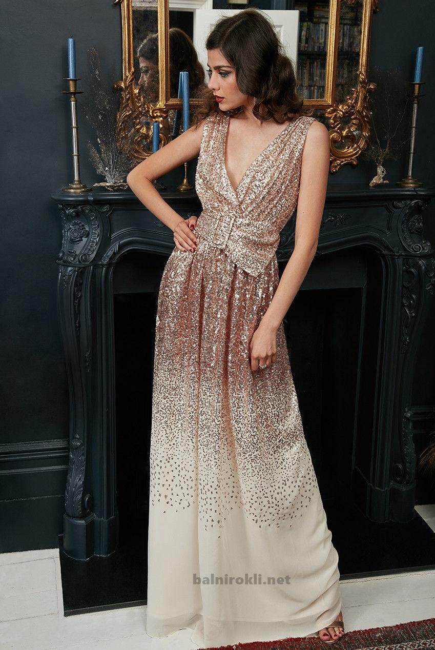 златиста бална рокля крем шифон