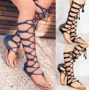 дънкови сандали