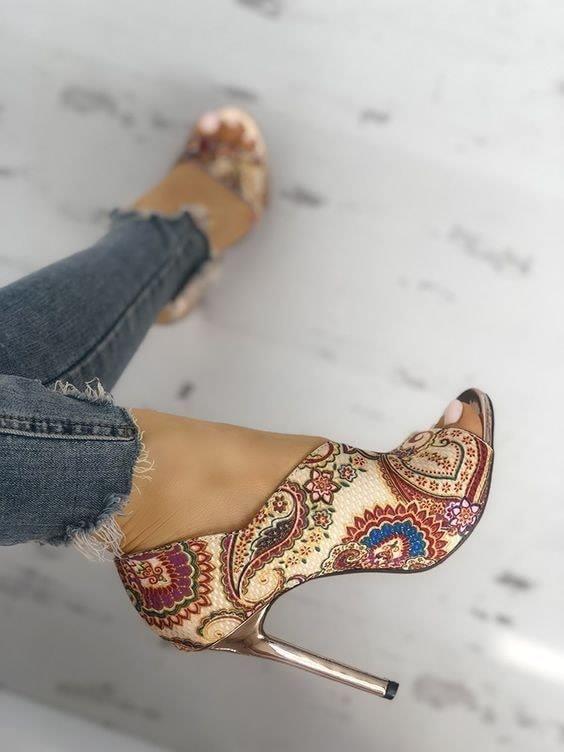 Модерни Обувки с ВИСОК ТОК принт