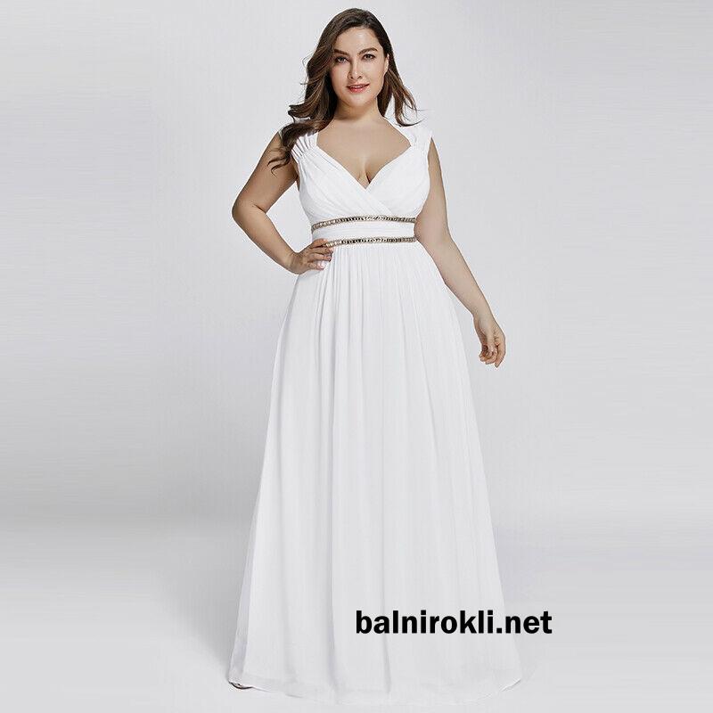 бяла официална рокля шифон дълга с декорации за макси дами