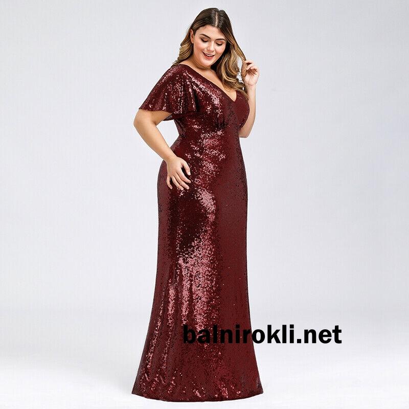 дълга червена официална блестяща рокля за макси дами