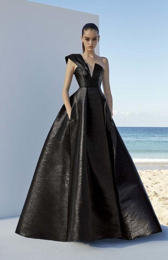 бална луксозна черна дълга рокля