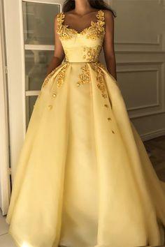 бална луксозна жълта дълга рокля