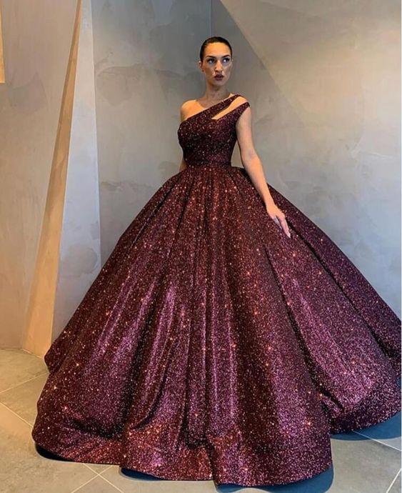 бална луксозна дълга рокля бордо