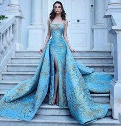 бална луксозна синя дълга рокля