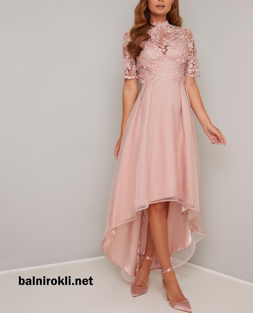 розова асиметрична елегантна рокля с дантела