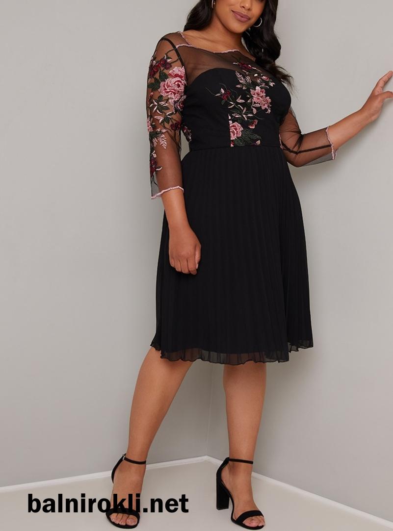 черна елегантна официална рокля за макси дами с бродерия