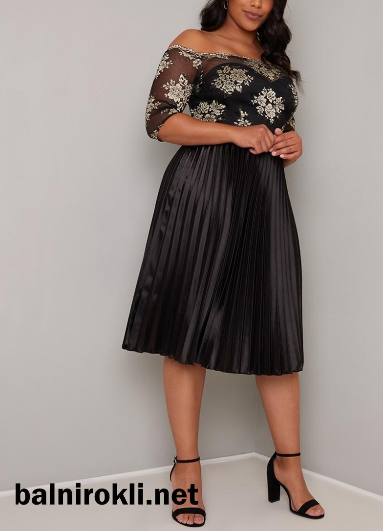 черна официална рокля дантела и сатенена пола с плисе за макси дами