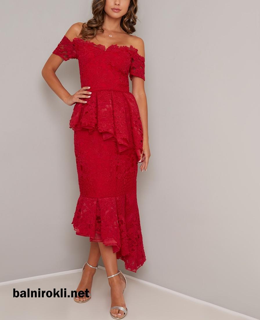 дантелена елегантна коктейлна червена рокля