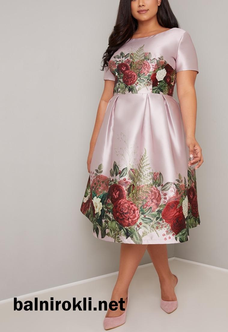 официална елегантна рокля сатен принт макси дами