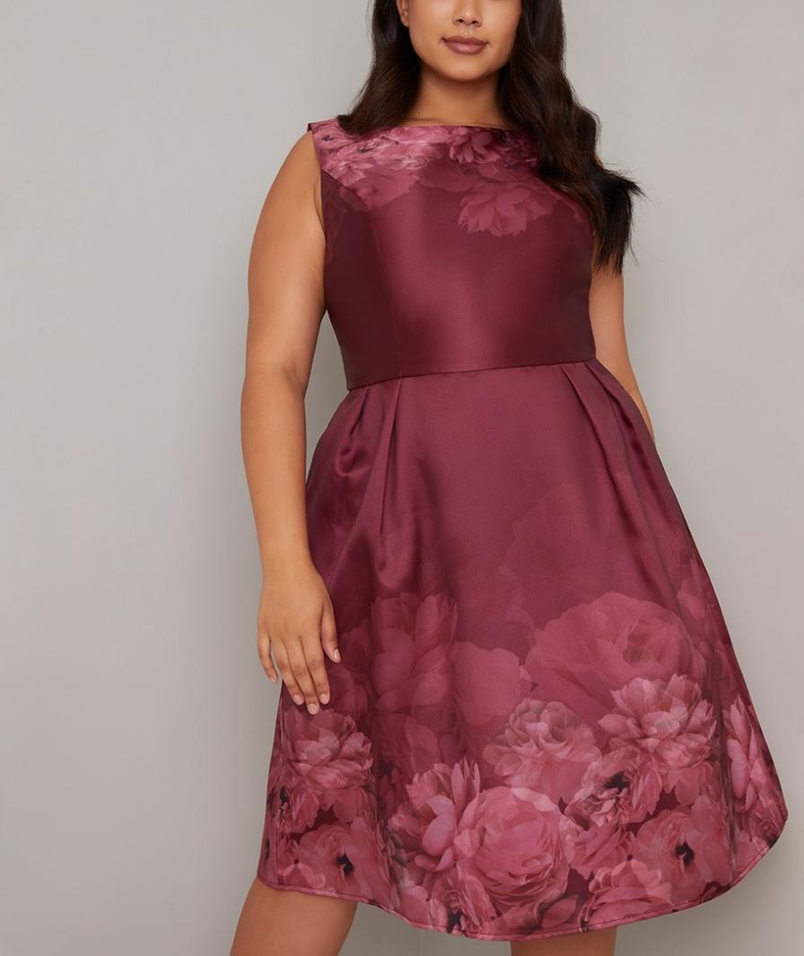 елегантна рокля сатен принт бордо макси дами 2020
