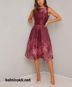 елегантна рокля сатен принт
