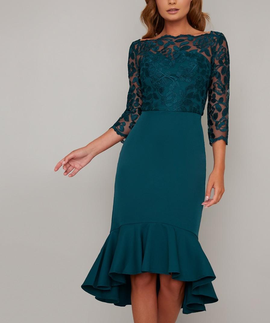 официална елегантна зелена рокля дантела ръкави