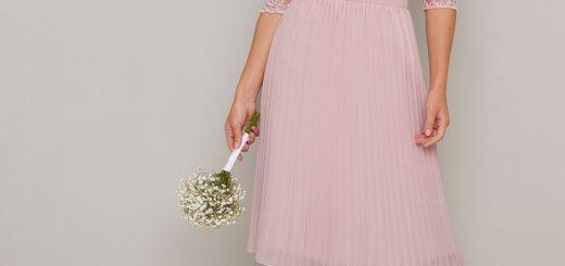 елегантна розова рокля плисе дантела ръкави