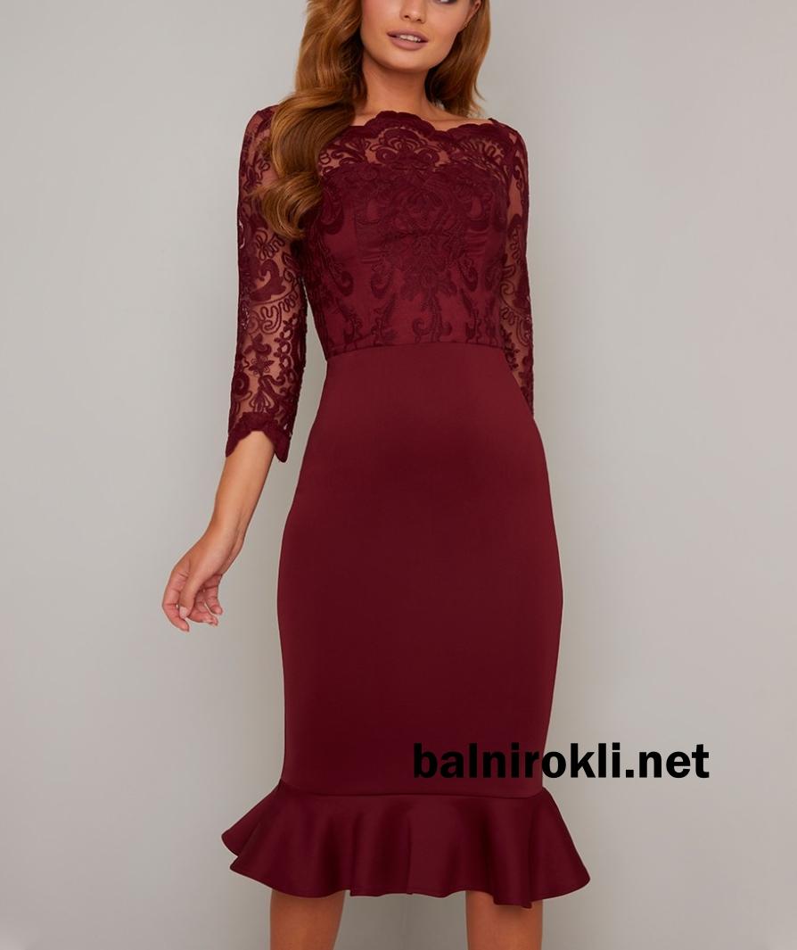 тъмночервена права рокля бордо