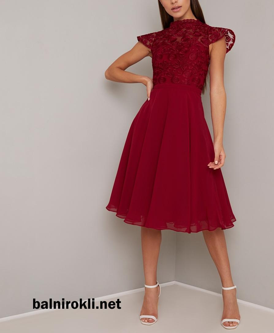 официална коктейлна рокля средна дължина цвят бордо