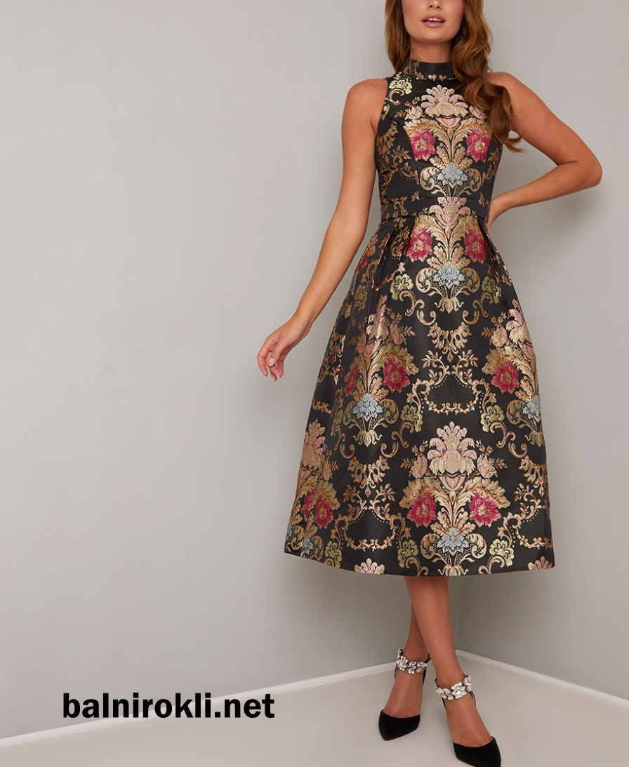 официална рокля многоцветен принт средна дължина