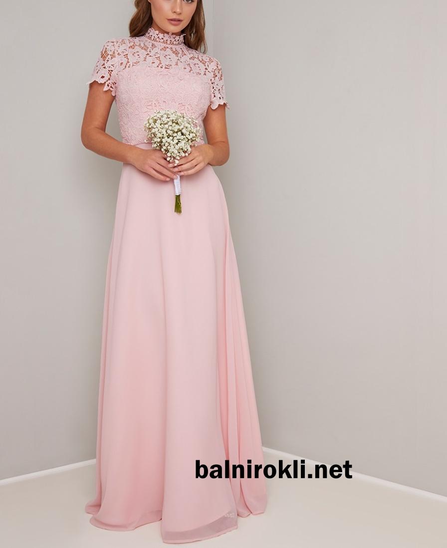 дълга официална рокля розова дантела шифон