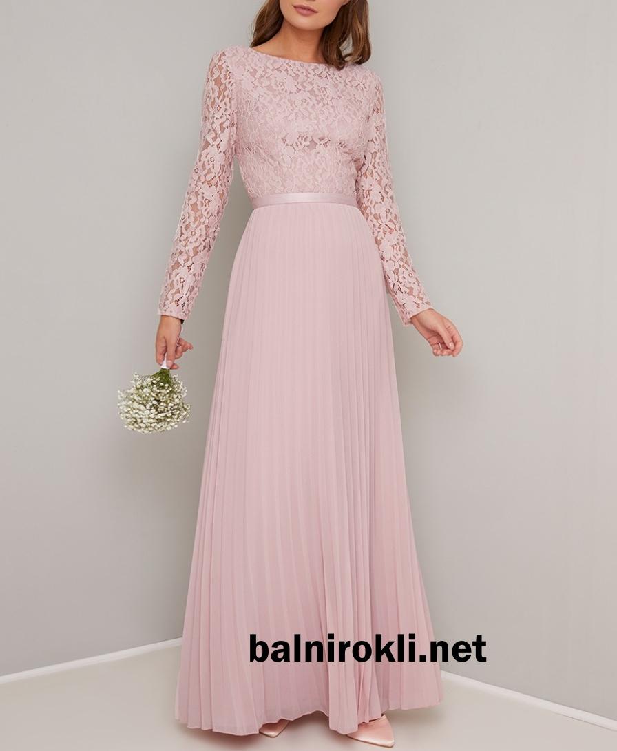 дълга официална рокля розова дантела шифон ръкави