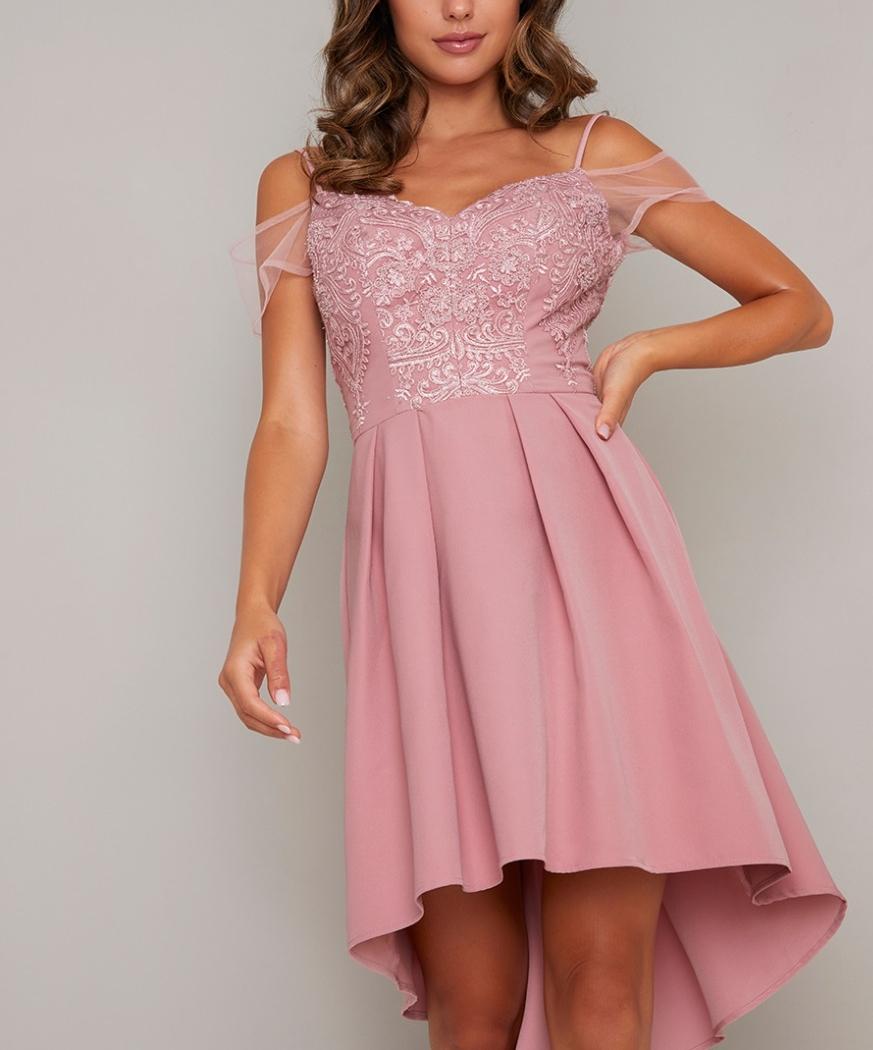 Асиметрична розова официална рокля дантела сатен 2020