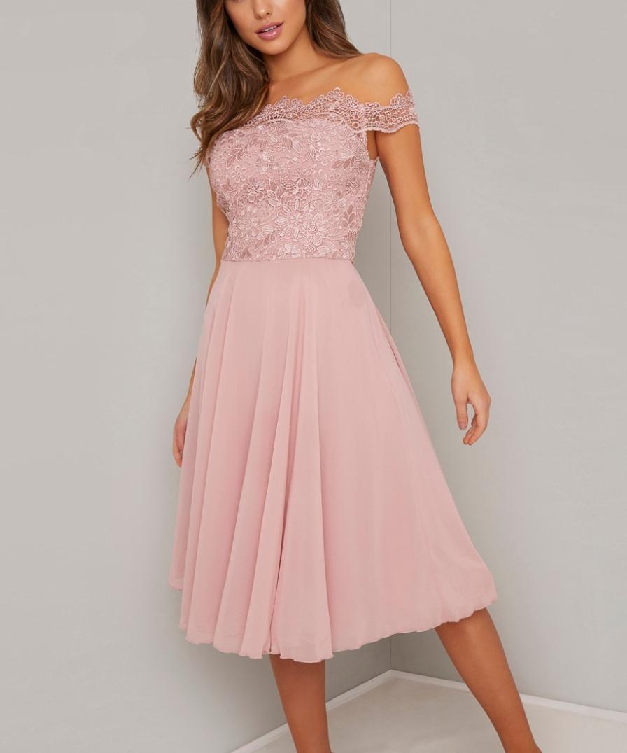 Розова бална рокля средна дължина