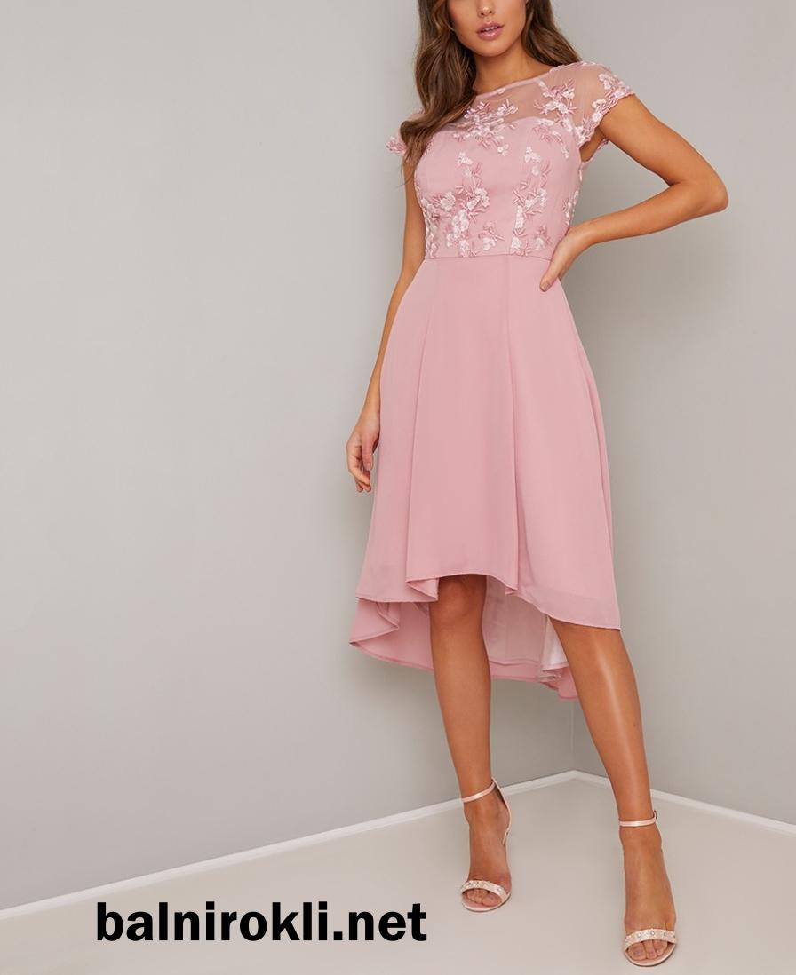 Абитуриентска Асиметрична Розова бална рокля 2020