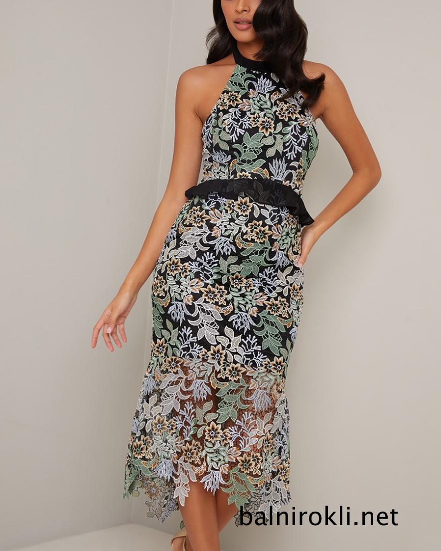 абитуриентска дантелена права рокля 2020