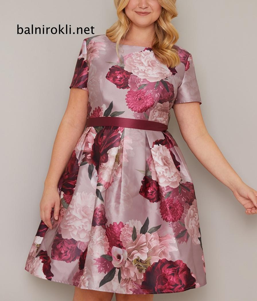 абитуриентска къса рокля сатен флорал макси дами