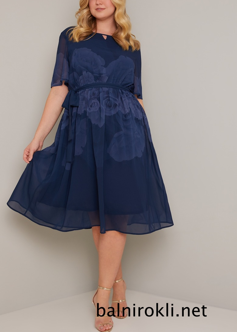 абитуриентска къса рокля тъмносин шифон макси размери