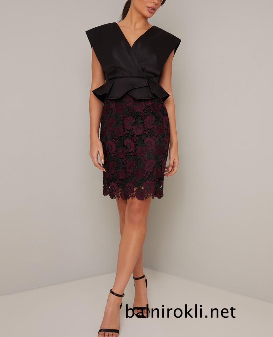 абитуриентска къса черна рокля дантелена пола