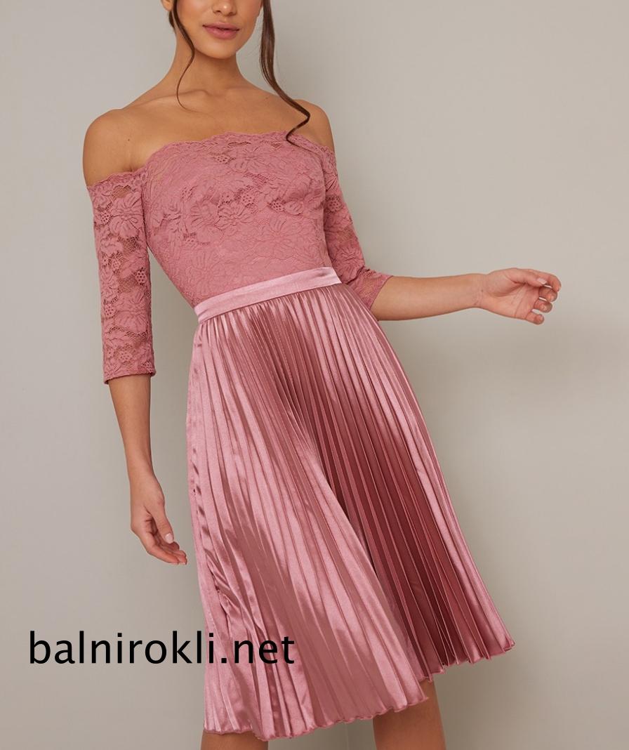 абитуриентска къса розова рокля поличка плисе