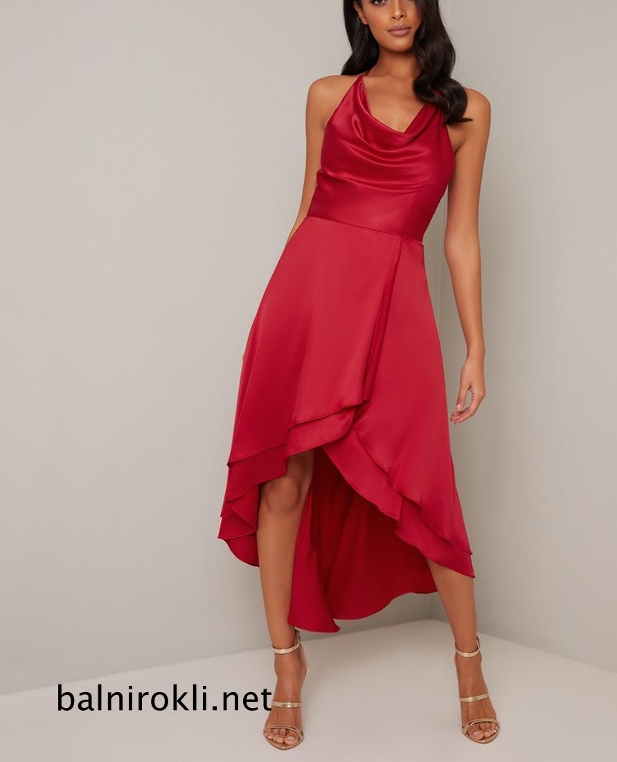бална червена рокля от сатен