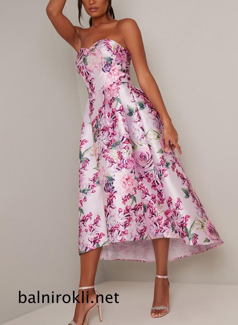 асиметрична рокля флорален сатен
