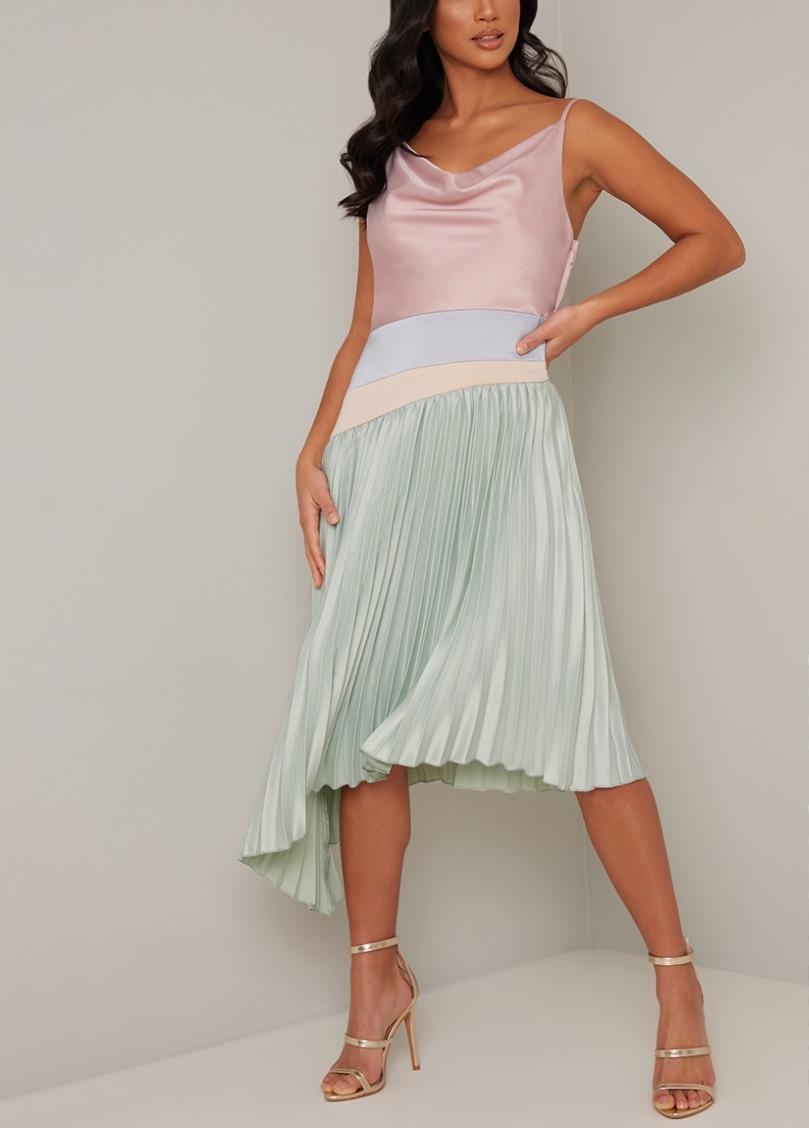 абитуриентска къса рокля плисе сатен
