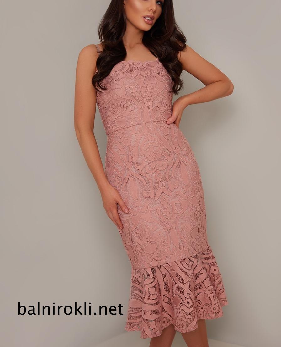 къса дантелена розова абитуриентска рокля